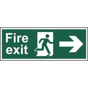 Fire exit (Man arrow right) - Sign - PVC (400 x 150mm)