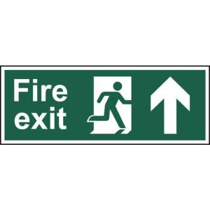 Fire exit (Man arrow up) - Sign - PVC (400 x 150mm)