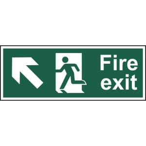 Fire exit (Man arrow up/left) - Sign - PVC (400 x 150mm)
