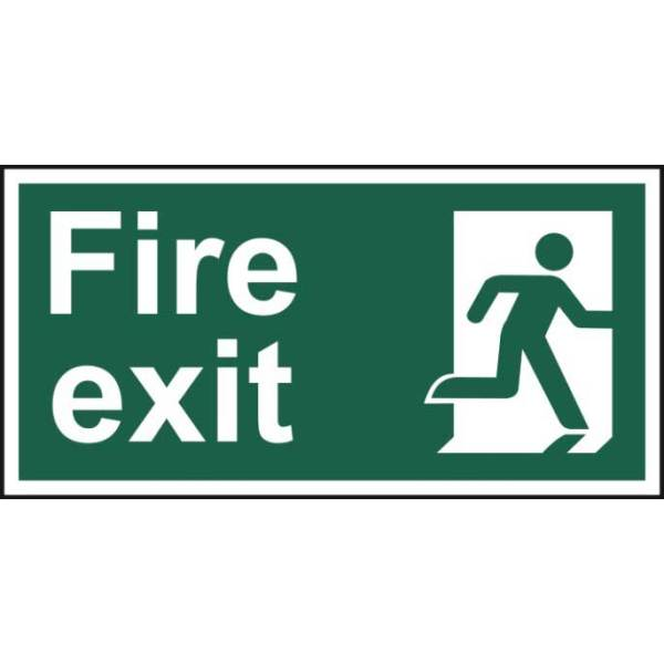 Fire exit (Man right) - Self Adhesive Sticky Sign (300 x 150mm)