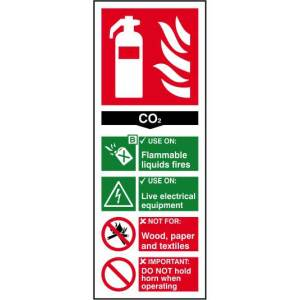Fire extinguisher: CO2 - Self Adhesive Sticky Sign (82 x 202mm)
