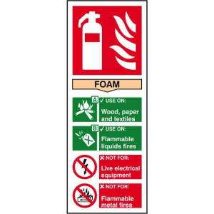 Fire extinguisher: Foam - Self Adhesive Sticky Sign (82 x 202mm)