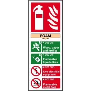 Fire extinguisher: Foam - Sign - PVC (82 x 202mm)