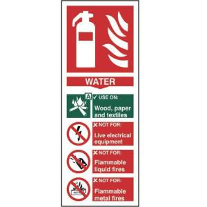 Fire extinguisher: Water - Sign - PVC (82 x 202mm)