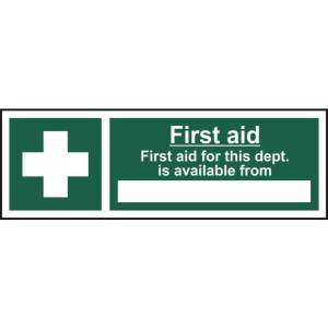 First Aid For This Department Is... Sign - Self Adhesive 300 x 100mm