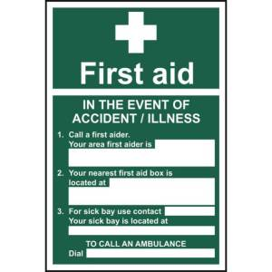 First Aid: In the event of accident -Self Adhesive Sign 200 x 300mm