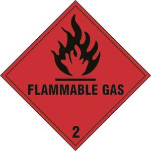 Flammable Gas 2 - Self Adhesive Sticky Sign (200 x 200mm)