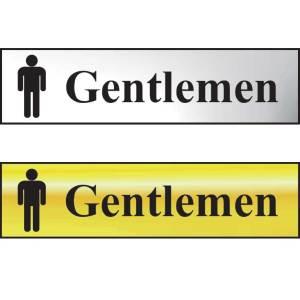 Gentlemen Sign - Polished Gold Effect (200 x 50mm)