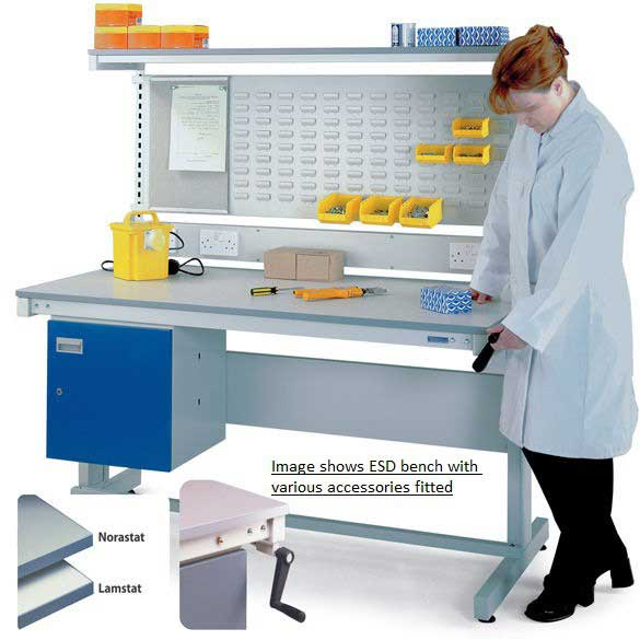 Height Adjustable ESD Workbench with Lamstat Top 1800w x 600d