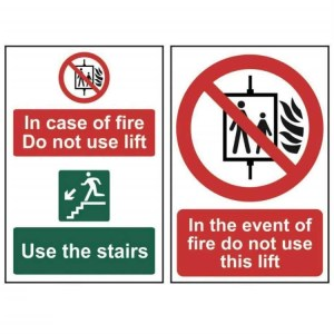 In case of fire Do not use lift Use the stairs -Sign PVC (200 x 300mm)