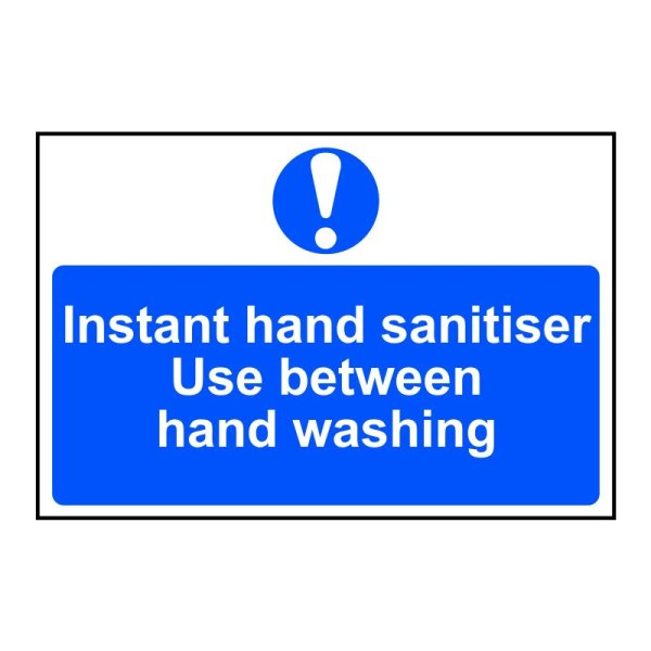 Instant hand sanitiser use between hand washing Sign