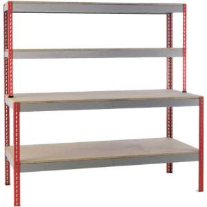 Just Workbench 1.8m x 750 - Chipboard Top, 2 Upper Shelves & Low shelf