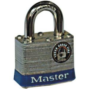 Master Lock Laminated Steel Padlock with hardened 8mm Dia Shackle