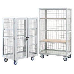 Mobile Distribution Trolley 1355x900x600mm, Steel Shelves, With Doors