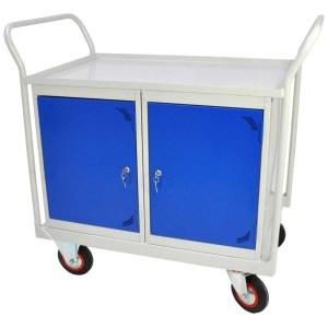 Mobile Maintenance Trolley - MDF Worktop, Cupboard, Side Shelf 1200W