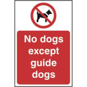 No Dogs Except Guide Dogs Sign- RPVC (200 x 300mm)