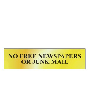 No Free Newspapers Or Junk Mail Sign - Polished Chrome Effect (200 x 50mm)