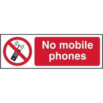 No Mobile Phones Sign - RPVC (300 x 100mm)