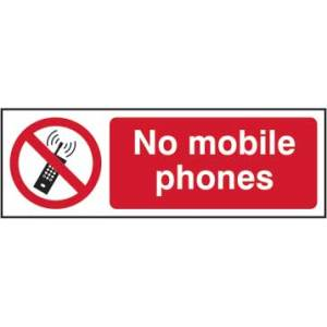 No Mobile Phones Sign - RPVC (300 x 100mm)