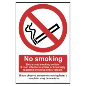 No Smoking In This Vehicle - Self Adhesive Sticky Sign (100 x 150mm)