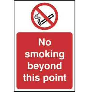No smoking beyond this point - Self Adhesive Sticky Sign (200 x 300mm)