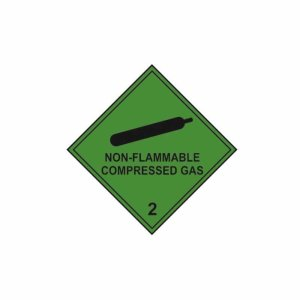 Non Flammable Compressed Gas - Self Adhesive Sticky Sign (200 x 200mm)