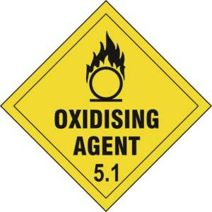 Oxidising Agent 5.1 - Self Adhesive Sticky Sign Diamond (100 x 100mm)