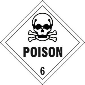 Poison 6 - Self Adhesive Sticky Sign Diamond (200 x 200mm)