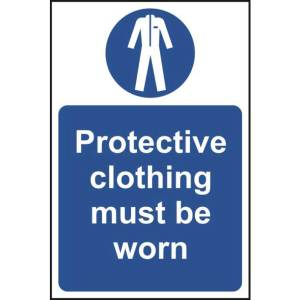 Protective Clothing Must Be Worn Sign - RPVC (400 x 600mm)