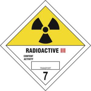 Radioactive III 7 - Self Adhesive Sticky Sign Diamond (100 x 100mm)