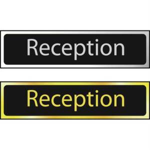 Reception Sign - Polished Chrome Effect (200 x 50mm)