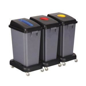 Recycling Bin Lid - yellow circular aperture