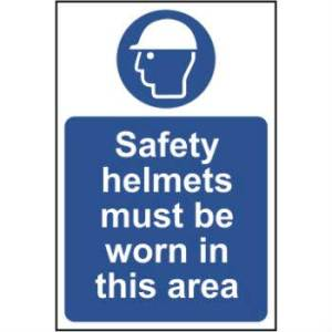Safety Helmets Must Be Worn In This Area - Sign - PVC (200 x 300mm)