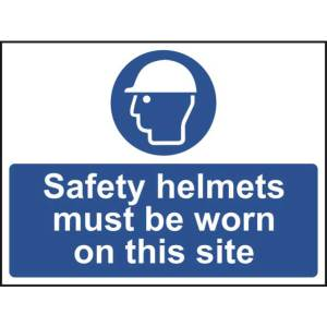 Safety helmets must be worn - Self Adhesive Sign 600 x 450mm