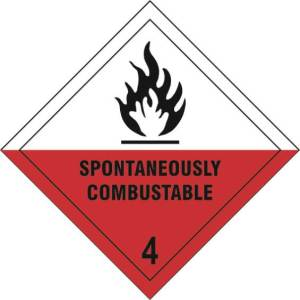 Spontaneously Combustible 4 - Self Adhesive Sign Diamond 200 x 200mm