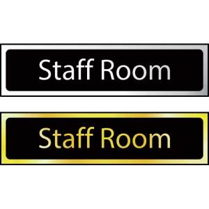 Staff Room Sign - Polished Gold Effect (200 x 50mm)