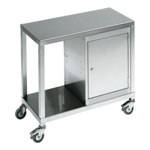 Stainless Steel 2 Tier Trolley with Cabinet & Drawer 1200 x 550