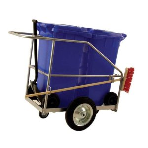 Street Cleaning Barrow with 2 x 120L Red Wheelie Bins, Brush And Shovel