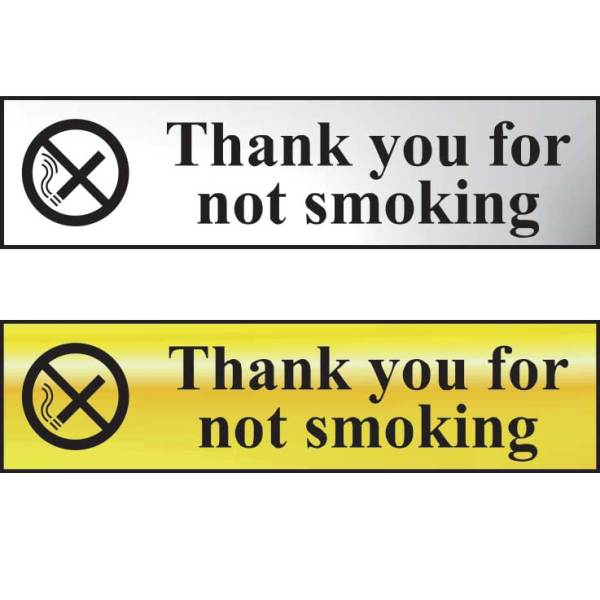 Thank You For Not Smoking Sign - POL (200 x 50mm)