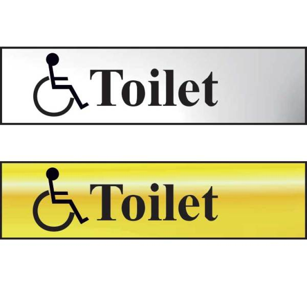 Toilet (With Disabled Symbol) Sign - POL (200 x 50mm)