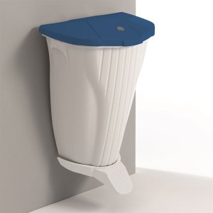 Wall Mounted Pedal Bin, Red lid, White body