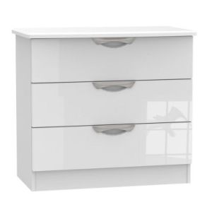 Weybourne 3 Drawer Bedroom Chest White Gloss