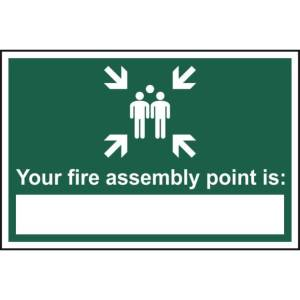 Your fire assembly point is: - Self Adhesive Sticky Sign (300 x 200mm)