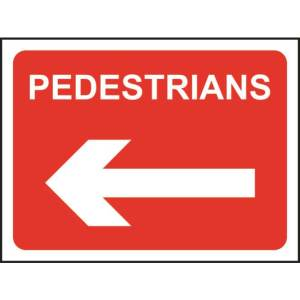 Zintec 1050 x 750mm Pedestrians Left Road Sign with Frame
