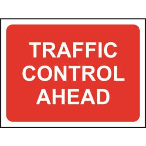 Zintec 1050x750mm Traffic Control Ahead Road Sign with Frame