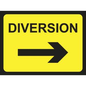 Zintec 600 x 450mm Diversion Arrow Right Road Sign with Frame