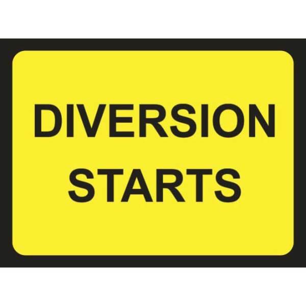 Zintec 600 x 450mm Diversion Starts Road Sign (no frame)