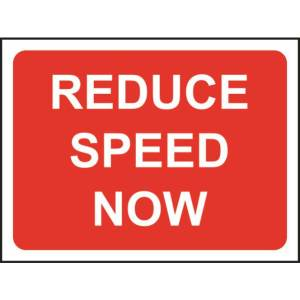 Zintec 600 x 450mm Reduce Speed Now Road Sign with Frame