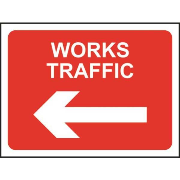 Zintec 600 x 450mm Works Traffic Left Road Sign (no frame)