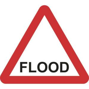 Zintec 600mm Triangular Flood Road Sign with Frame
